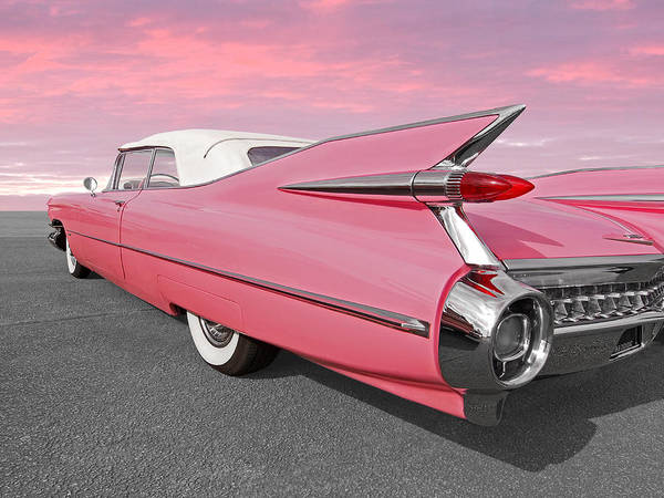 Photograph - Pink Cadillac Tail Fins At Sunset by Gill Billington