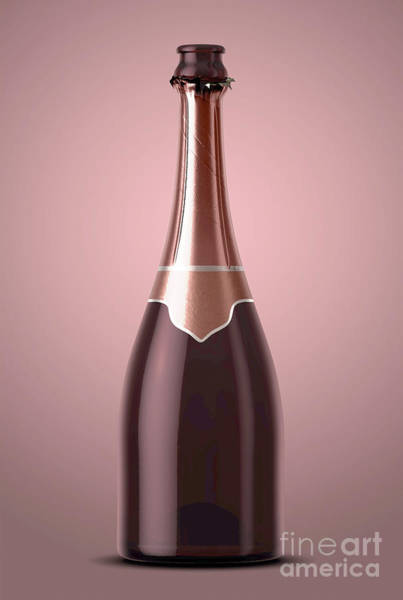 Wall Art - Digital Art - Pink Champagne Bottle Open Neck by Allan Swart