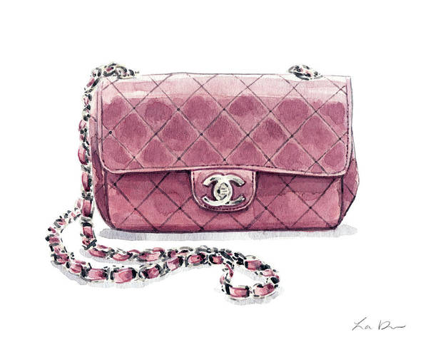 Wall Art - Painting - Pink Chanel Bag With Chain by Laura Row