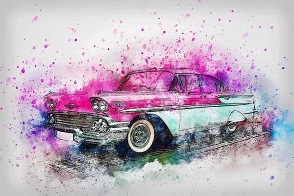 Spray Paint Painting - Pink Chevrolet by ArtMarketJapan