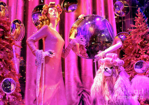 Photograph - Pink Christmas At Saks Fifth Avenue In New York City by John Rizzuto