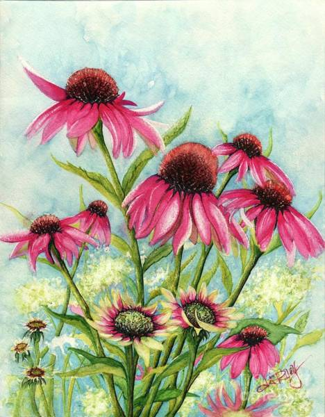 Coneflower Painting - Pink Coneflowers by Janine Riley