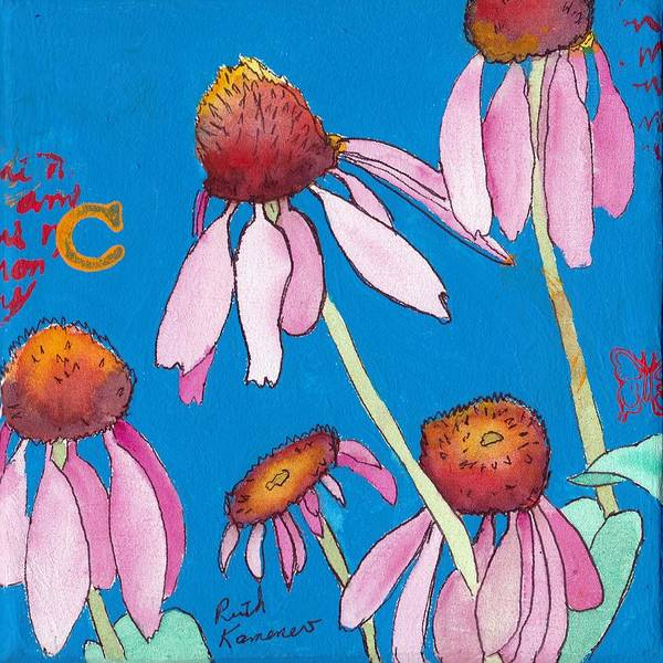 Painting - Pink Coneflowers by Ruth Kamenev