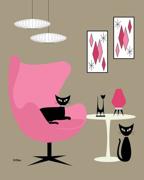 Digital Art - Pink Egg Chair With Cats by Donna Mibus