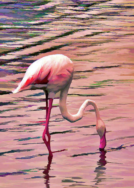 Mixed Media - Pink Flamingo Two by Rosalie Scanlon