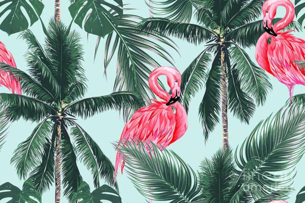 Wall Art - Digital Art - Pink Flamingos, Exotic Birds, Tropical by Nataliako