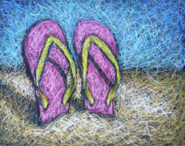 Scumble Wall Art - Painting - Pink Flip Flops by Karla Beatty