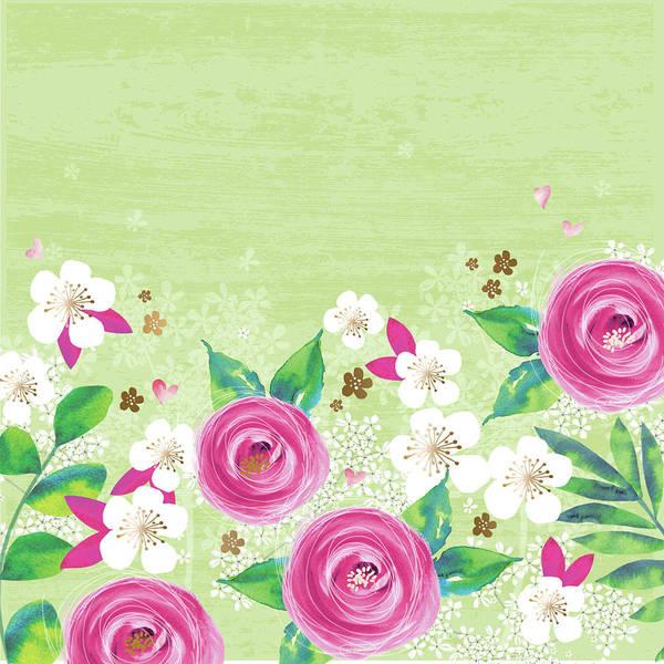Blue Rose Digital Art - Pink Floral by P.s. Art