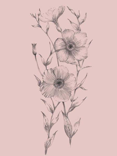 Wall Art - Mixed Media - Pink Flower Sketch Illustration I by Naxart Studio