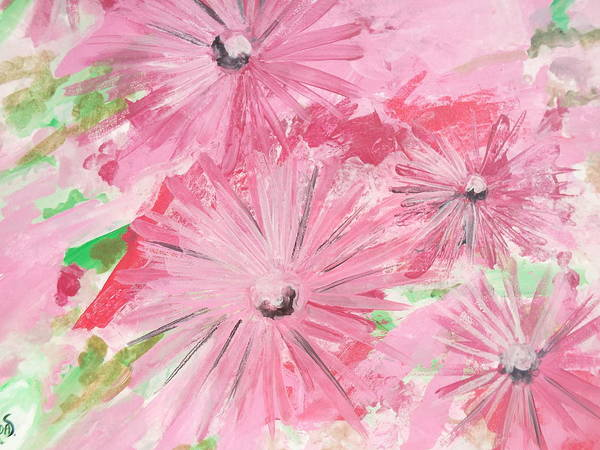 Painting - Pink Flowers by Hoda Said Ibrahim