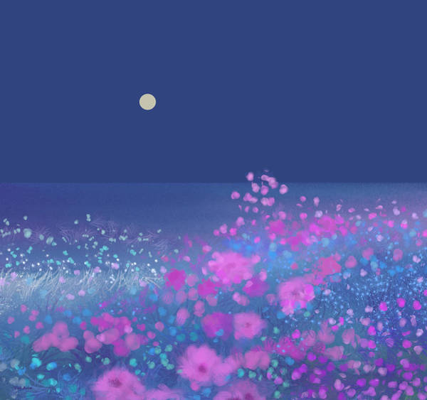 Digital Art - Pink Flowers In The Moonlight by Val Arie