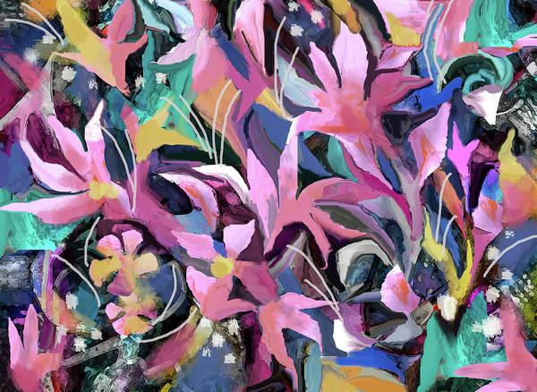 Digital Art - Pink Flowers by Jean Batzell Fitzgerald