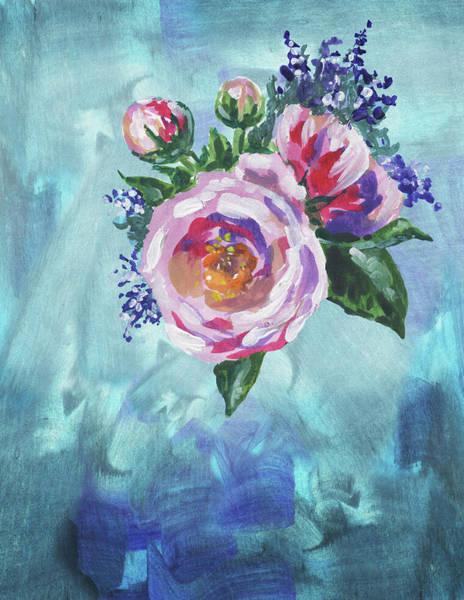Wall Art - Painting - Pink Garden Rose On Teal Floral Impressionism by Irina Sztukowski