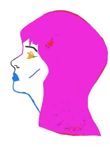 Neon Drawing - Pink Head by Daisy De Villeneuve