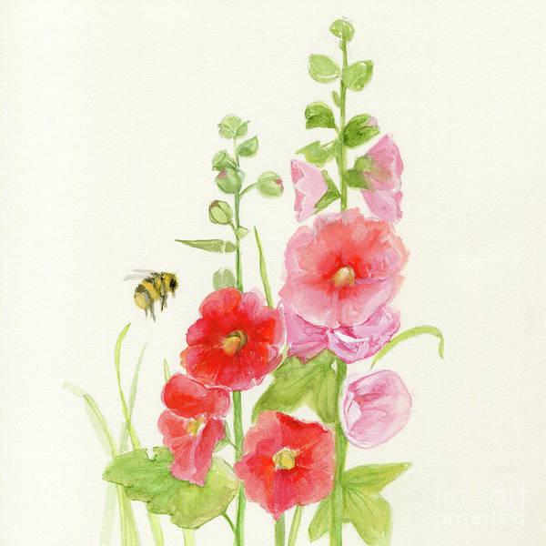 Pink Hollyhock Watercolor Art Print