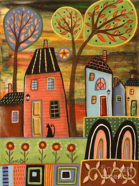 Wall Art - Painting - Pink House Landscape by Karla Gerard