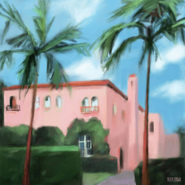 Florida Painting - Pink House Palm Beach by Beverly Brown