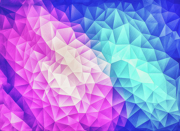 Wall Art - Digital Art - Pink Ice Blue  Abstract Polygon Crystal Cubism Low Poly Triangle Design by Philipp Rietz