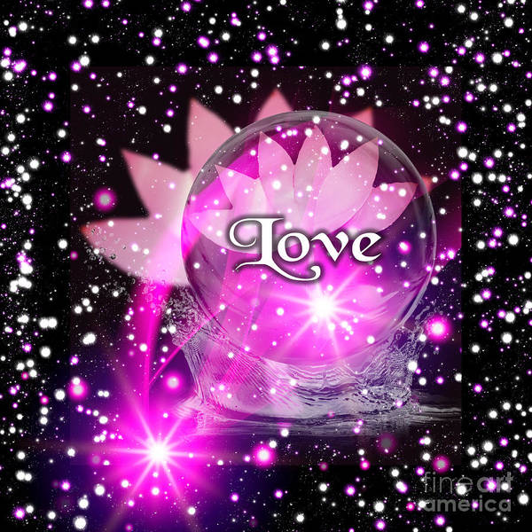 Digital Art - Pink Lotus Love by Rachel Hannah