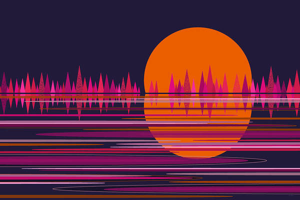 Digital Art - Pink Moonrise Abstract by Val Arie