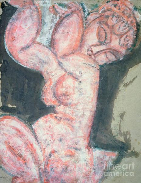 Wall Art - Painting - Pink Nude, Caryatid by Amedeo Modigliani