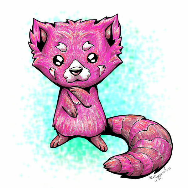 Furry Drawing - Pink Panda  by Sipporah Art and Illustration