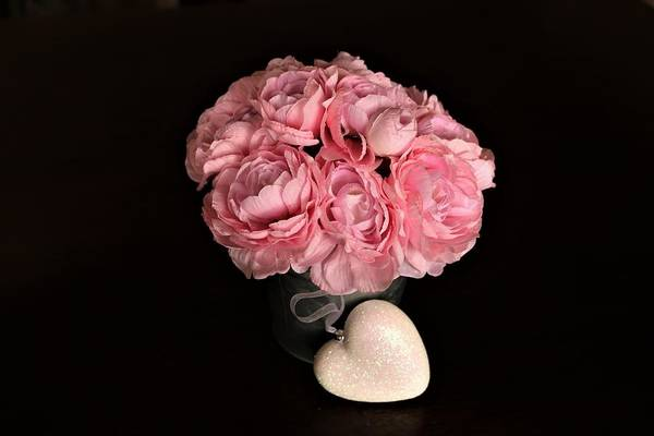 Photograph - Pink Peonies And Heart On Black by Sheila Brown