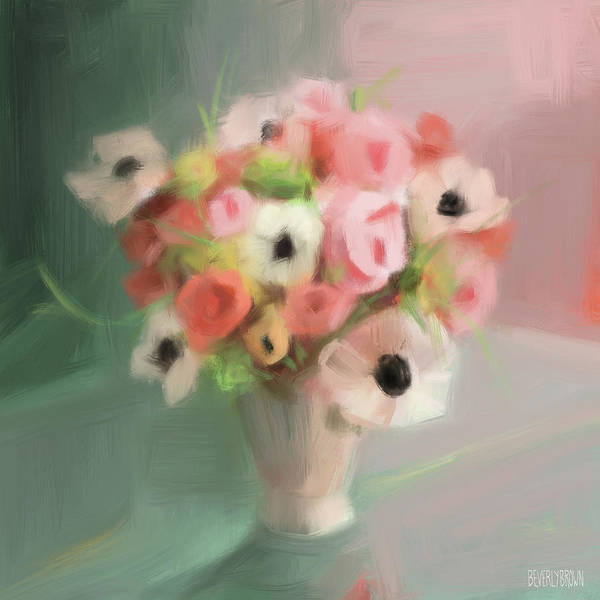 Wall Art - Painting - Pink Peonies And Poppies by Beverly Brown