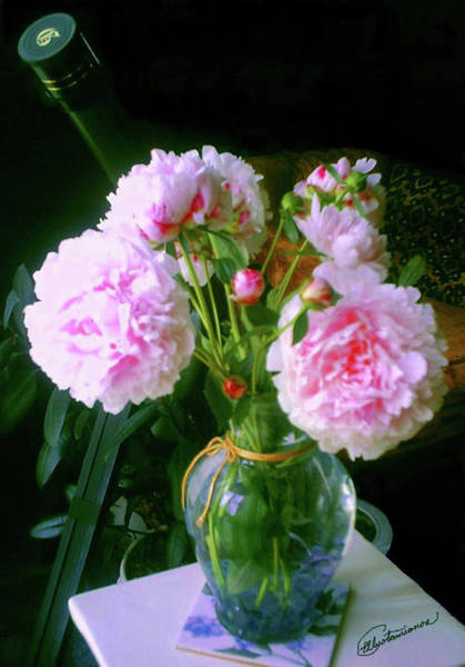 Pyrography - Pink Peonies Vase by Elly Potamianos