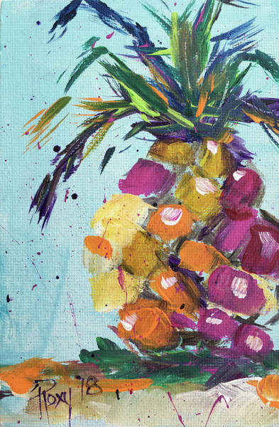 Still Life Painting - Pink Pineapple by Roxy Rich