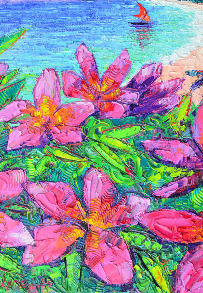 Painting - Pink Plumeria Modern Textural Impressionist Impasto Palette Knife Oil Painting By Ana Maria Edulescu by Ana Maria Edulescu