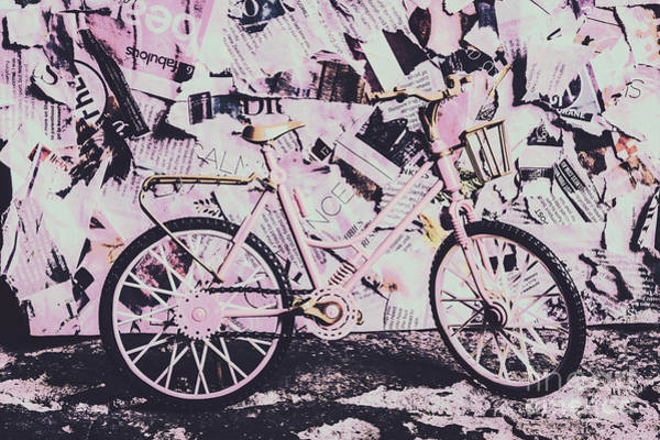 Chic Photograph - Pink Posterized Pushbike by Jorgo Photography - Wall Art Gallery