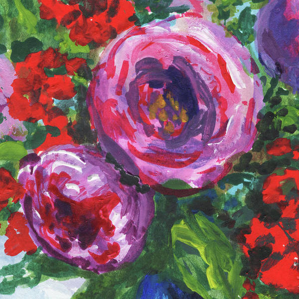 Wall Art - Painting - Pink Red Purple Flowers Of Floral Impressionism  by Irina Sztukowski