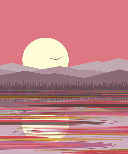 Digital Art - Pink Reflections And Purple Mountains by Val Arie