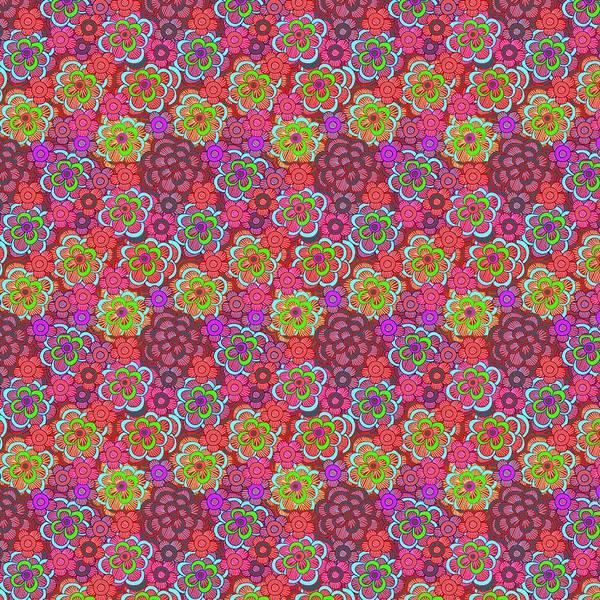 Wall Art - Digital Art - Pink Retro Flowers by Cindy Boyd