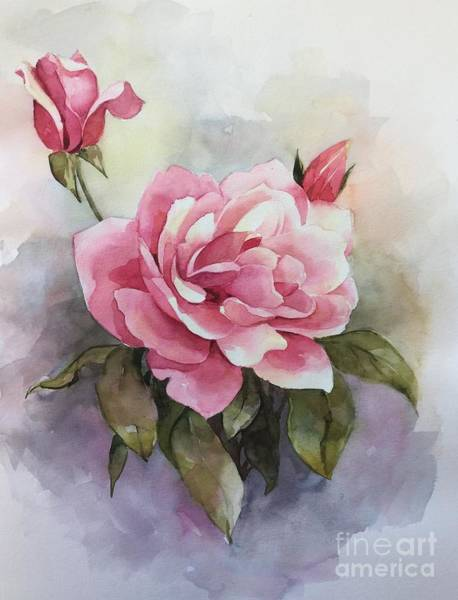 Wall Art - Painting - Pink Rose by Ekaterina Mortensen