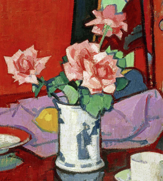 Wall Art - Painting - Pink Roses, Chinese Vase, 1920 by Samuel John Peploe