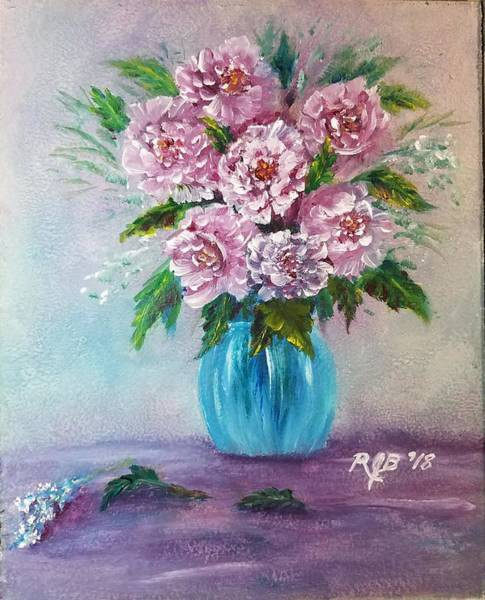 Wall Art - Painting - Pink Roses In A Vase by Rick Berube