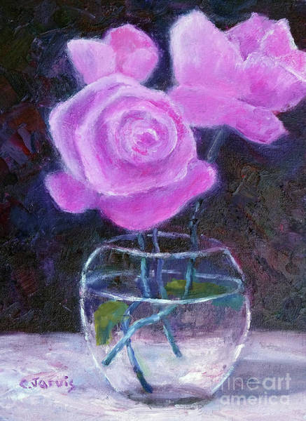 Painting - Pink Roses In Glass Vase by Carolyn Jarvis