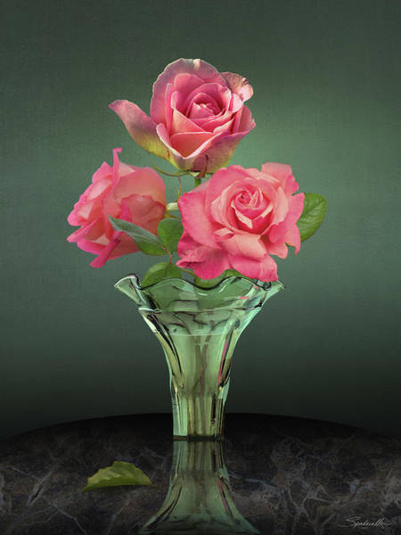 Wall Art - Digital Art - Pink Roses In Glass Vase by M Spadecaller
