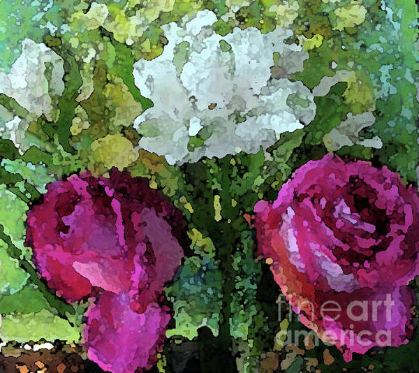 Photograph - Pink Roses Watercolor Effect by Corinne Carroll