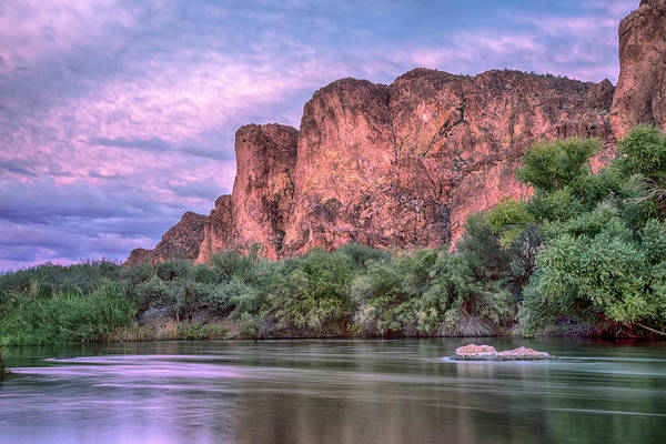 Photograph - Pink Salt River Reflections Sunset by Dave Dilli