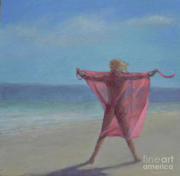Wall Art - Painting - Pink Sari On The Beach by Lincoln Seligman