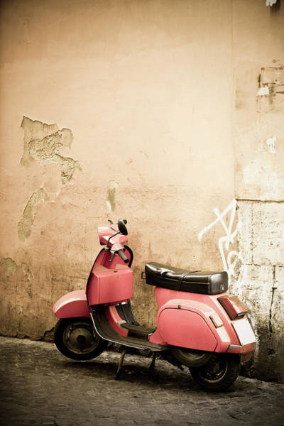 Cute Photograph - Pink Scooter And Roman Wall, Rome Italy by Romaoslo