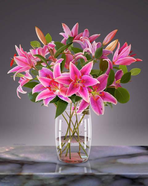 Painting - Pink Stargazer Lilies In Vase by David Arrigoni