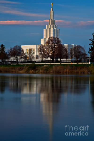 Photograph - Pink Stripe Over The Idaho Falls Temple by Adam Jewell