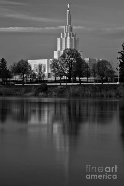 Photograph - Pink Stripe Over The Idaho Falls Temple Black And White by Adam Jewell