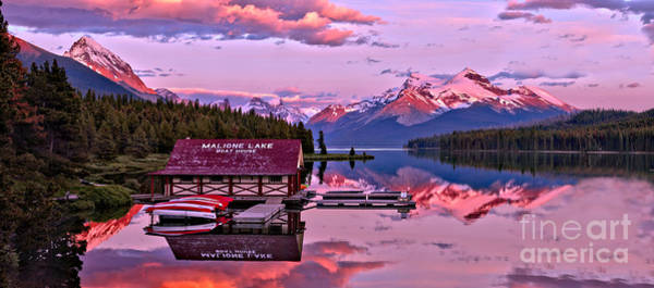 Photograph - Pink Summer Sunset Reflections Ar Maligne Lake by Adam Jewell