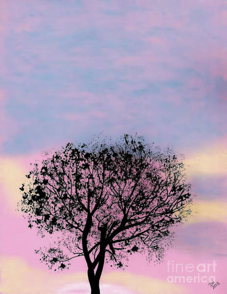Drawing - Pink Sunset by D Hackett
