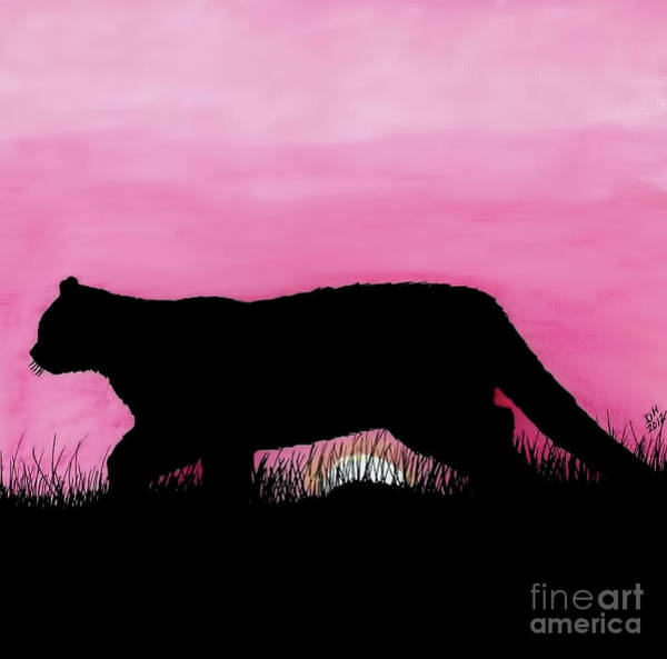 Drawing - Pink - Sunset - Panther by D Hackett